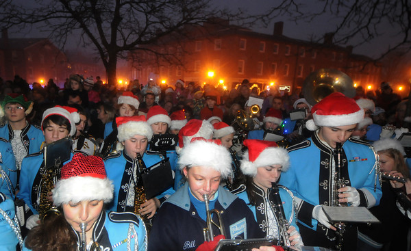 Newburyport: The Triton Band plays carols at the annual Newburyport tree lighting. Jim Vaiknoras/staff photo