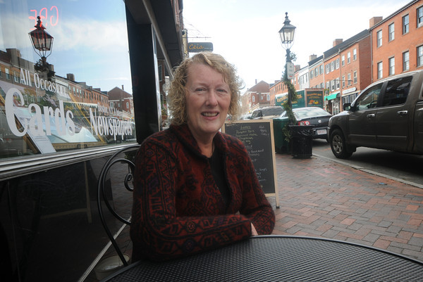 Getting acquainted with Denise Marien on State Street in Newburyport