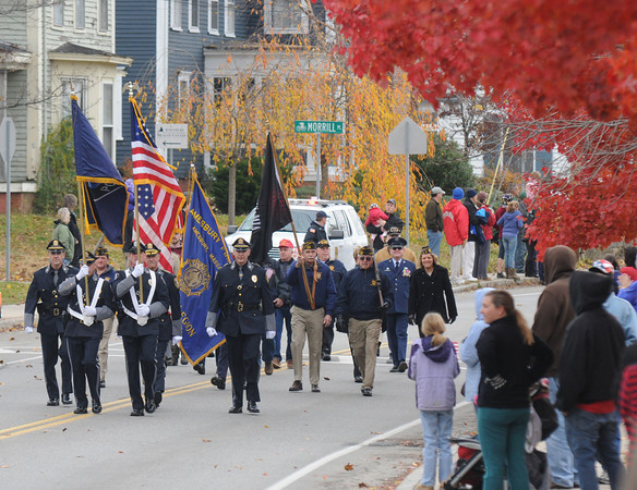 Amesbury: The Amesbury Police Honor Guard lead teh annual  Veteran's Day Parade at Amesbury Middle School. Jim Vaiknoras/staff photo