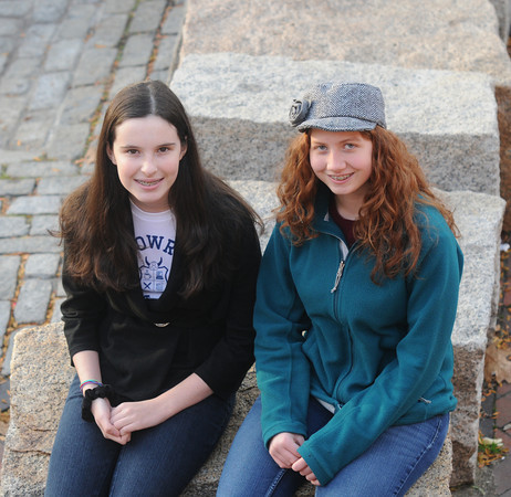 Newburyport: Authors, Rowan Johnson , left and Anna Moreland right sit on Inn Street in Newburyport. Jim Vaiknoras/staff photo