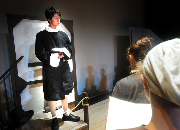 """Newburyport: Jake Wisniewski as Rev. Gish in the Newburyport High THeatre Dept production of """"Witch of Blackbird Pond"""". The play runs Thursday though Saturdat at 7pm, tickets are $10 for adults and $6 for students and seniors. Staff photo"""