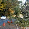 Amesbury: Branches and wire knocked down by Saturday nights storm block one side of Monroe Street in Amesbury. Jim Vaiknoras/Staff photo