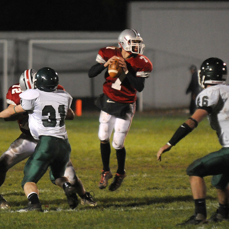 Amesbury: Amesbury quarterback Matt Talbot looks down field for a reporter during their home game against Pentucket. Jim Vaiknoras/Staff photo