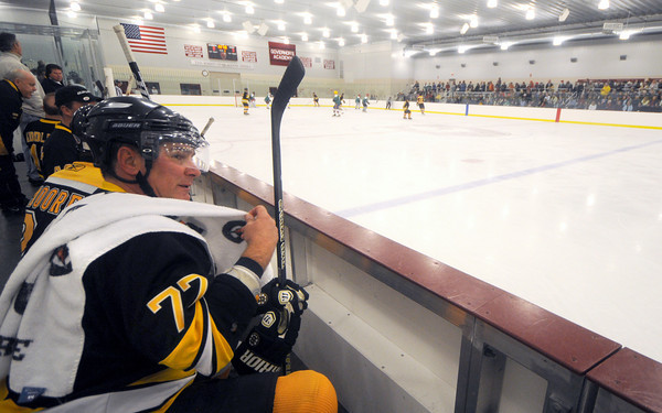 Byfield: NHL great Ray Bourque takes a breather the Skate for Nate hockey game fundraiser between Team Nate Bibaud and the Boston Bruins Alumni team at<br /> The Governor's Academy Saturday night. Jim Vaiknoras/staff photo