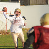 Newburyport: Newburyport quarterback Connor Wile tosses a pass at practice Friday. Jim Vaiknoras/staff photo