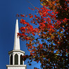 Amesbury: Fall colors are appearing more in the area, here framing the Main Street Congregational Church in downtown Amesbury. Bryan Eaton/Staff Photo