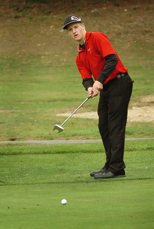 Amesbury: Amesbury's Troy Eaton putts on the 6th green yesterday. Bryan Eaton/Staff Photo