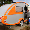 "Salisbury: Annie Frelich of Putney, Vermont in a modern ""tear drop"" camper at Salisbury Beach State Reservation. Bryan Eaton/Staff Photo"