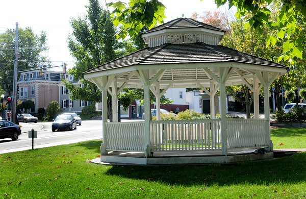 Amesbury: The gazebo adjacent to the Amesbury Public Library has become somewhat a bulletin board of community events. Bryan Eaton/Staff Photo