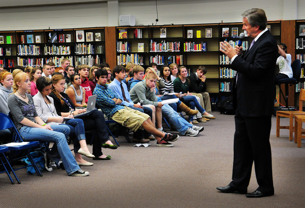 Byfield: Congressman John Tierney answers questions put forth by students at Triton Regional High School yesterday morning. Bryan Eaton/Staff Photo