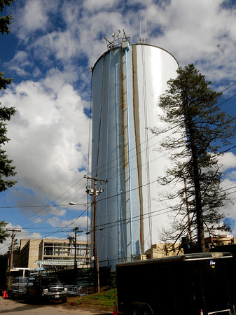 Newburyport: The water tower behind the Anna Jaques Hospital is getting repainted and may sport a clipper ship logo. Bryan Eaton/Staff Photo