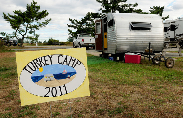 """Salisbury: The """"vintage"""" campers will be having a Thanksgiving Dinner tonight at Salisbury Beach State Reservation. Bryan Eaton/Staff Photo"""