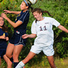 Newburyport: Newburyport's Carly Brand, right, battles with Lynnfield. Bryan Eaton/Staff Photo