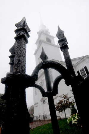Newburyport: The steeple at the First Religious Society in Newburyport fades in the fog on a rainy Friday afternoon. Jim Vaiknoras/Staff photo