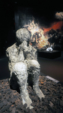 Boston: A cast made from on of the victims of  Pompeii at the new exibit at the Miseum of Science. JIm Vaiknoras/Staff photo