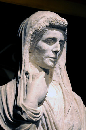 Boston: A Female Funerary Statue from Pompeii at the exihibit at the Museum of Science. Jim Vaiknoras/Staff photo