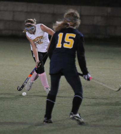 Amesbury: Newburyport's Emma Bartoe brings the ball up field against Lynnfield at Amesbury Sports Park. Jim Vaiknoras/Staff photo