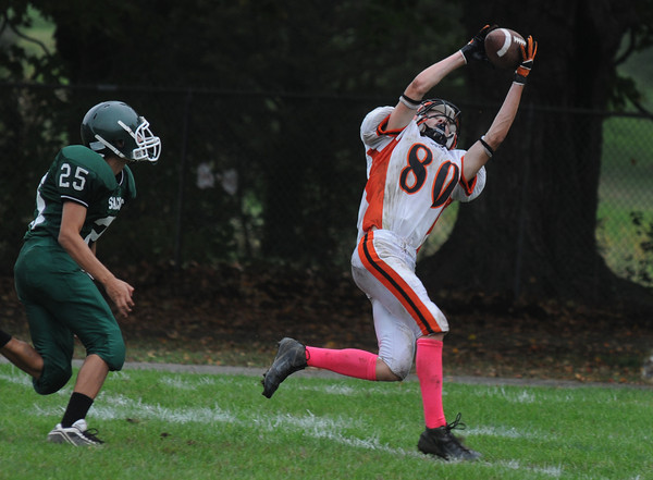 West Newbury:  Ipswich's Nate Glaster goes up for a recieption at Pentucket Saturday. Saturday. JIm Vaiknoras/Staff photo