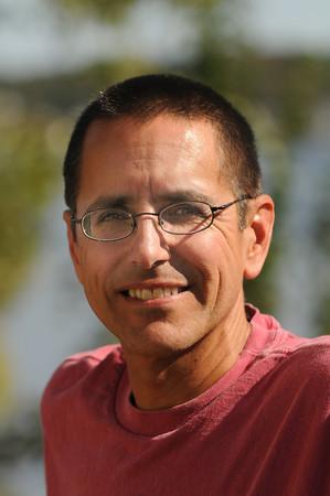 Amesbury:  Brian  Amero  at his  Amesbury home. Brian is a bladder cancer survivor and is running the Boston Marathon next year. Jim Vaiknoras/Staff photo