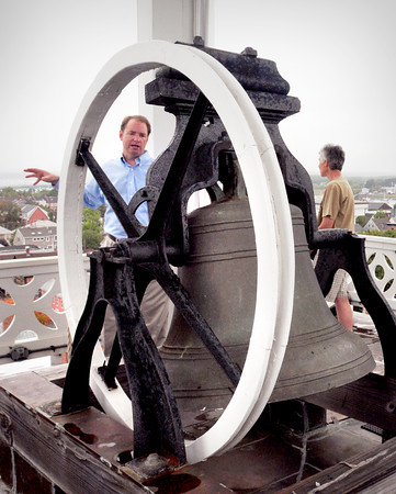 Newburyport: Rev. Rob John of the Old South Church in Newburyport talks about the Paul Revere bell atop the landmark building Saturday. The church, which had its steeple renovated several years ago was part the Essex Heritage's Trails and Sails event. Bryan Eaton/Staff Photo