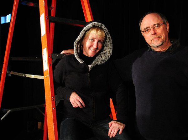 Newburyport: Actress Tracy Bickel and director Michael Kimball on the stage of the Actors Studio at the Tannery. Bryan Eaton/Staff Photo