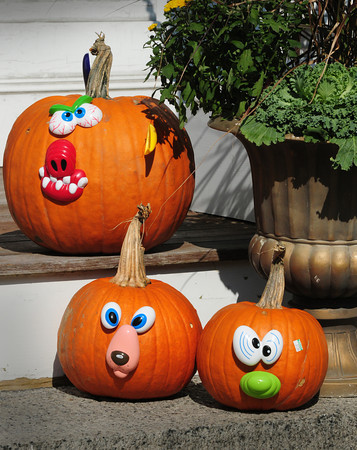 Newburyport: Halloween is over a month away but some decorations are starting to appear like these pumpkin faces on High Street in Newburyport near the Route One bridge. Bryan Eaton/Staff Photo
