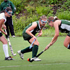 Amesbury: Pentucket's Shannon Beaton, right, moves with the ball past teammate Molly Sanford and Newburyport's Paige Hefferen. Bryan Eaton/Staff Photo