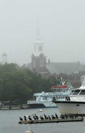 Newburyport: The steeple Central Congregational Church in Newburyport disappears into yesterday's fog in a view from Ring's Island in Salisbury. The weeken is forecast to be much clearer with sun and cooler temperatures with chance of a spot shower Saturday. Bryan Eaton/Staff Photo