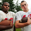 Amesbury: Amesbury's Delante Castle, left, and C.J. Collin accounted for 100 each in last week's game. Bryan Eaton/Staff Photo