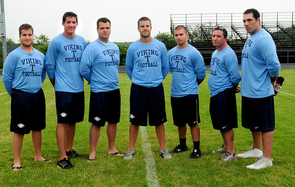 Byfield: Triton High football coaches from left, Ryan Sheehan, Andy Poor, Mike Geary, head coach Pat Sheehan, Eric Pacy, Shawn McElligott and Rob Legrow. Bryan Eaton/Staff Photo