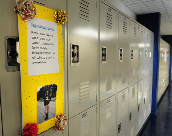 Byfield: Classmates of Taylor Brown, who has just awoken from a coma, are encouraging fellow students to make supportive cards in insert into her locker at Triton Regional High School in Byfield. Bryan Eaton/Staff Photo