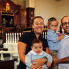 Newburyport: Rabbi Avi Poupko with wife, Carina, and sons Moses, left, and Jonah in the Congregation Ahavas Achim where he is taking over. Bryan Eaton/Staff Photo