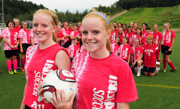 Amesbury: Amesbury High varsity soccer player Natalie Dawes, right, and her sister, Rachel, organized a walk for diabetes with the help of her teammates. Bryan Eaton/Staff Photo