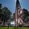 Newburyport: The sun shines through one of teh more than 500 flags on display at 2nd annual Field of Honor at the Bartlett Mall Sunday during a ceremony honoring those killed on Sept 11, 2001, miltary personal, first responders, and our perfonal heroes. Jim Vaiknoras/Staff photo