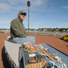 newburyport: Joe Cmar with his model of the harbormaster shack and fishing boats. jim vaiknoras/staff photo