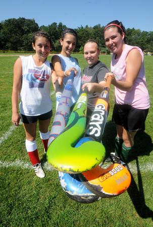 Amesbury: amesbury high field hockey players Vanessa LeBlanc, Amanda Schell, Cassie Schultz, and Morgan Sydlowski. JIm Vaiknoras/Staff photo