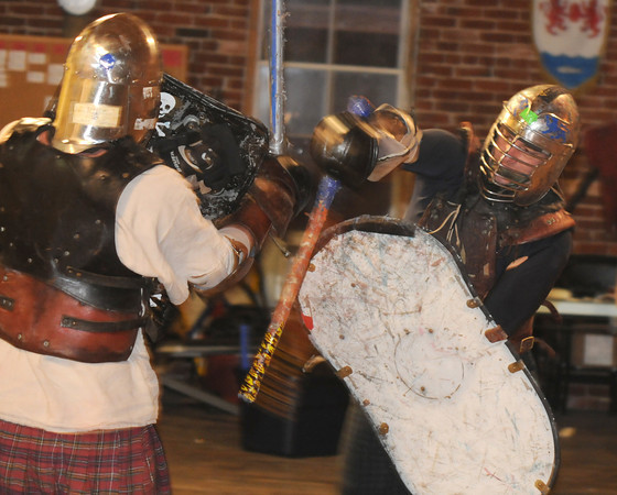 Amesbury: Jeremy Oneail founder and owner of Academy of Knightly Arts in Amesbury fights with Jeremiah Williams. Jim Vaiknoras/Staff photo