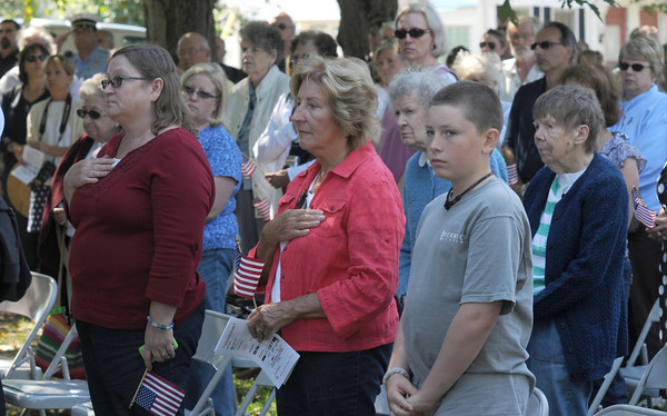 Newburyport: People say the Pledge of Allegiance at the Field of Honor Dedication Sunday at the Bartlet Mall. Jim Vaiknoras/Staff photo