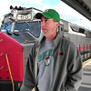 """Newburyport: Bob Power of Everett talks about the fare increase as the commuter train pulls into the Newburyport Station yesterday afternoon. The 26 year employee of Berkshire Manufacturing in Newburyport's industrial park says about the MBTA """"We're at their mercy."""" Bryan Eaton/Staff Photo"""