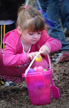 Salisbury: Eva LeBlanc, 4, of Amesbury fills her bucket with Easter Eggs that are filled with goodies Thursday afternoon. She at Little Inspirations Daycare in Salisbury which holds the annual event. Bryan Eaton/Staff Photo