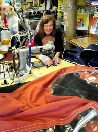 Newburyport: Lynn Jacobs of Lynn's Yacht interiors has been making custom seating and cloth accessories for watercraft since 1976. Bryan Eaton/Staff Photo