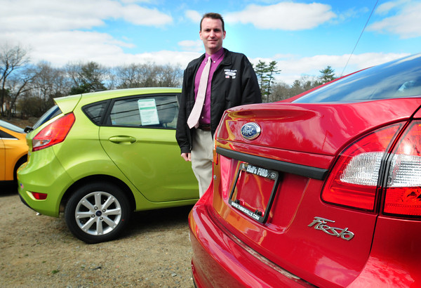 Salisbury: Bryan Wall of Wall's Ford with Fiestas which are a good seller as Americans start buying more efficient cars as gas prices rise. Bryan Eaton/Staff Photo