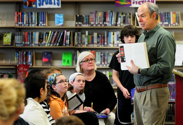 Newburyport: New Hampshire poet Ralph Fletcher speaks to children at the Molin Upper Elementary School. Bryan Eaton/Staff Photo