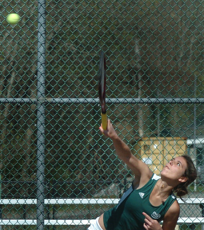 West Newbury: Pentucket's Rachael Downey in third singles action in a River Rivals meet. Bryan Eaton/Staff Photo
