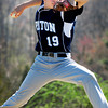 Byfield: Triton pitcher Blaise Whitman winds up yesterday morning in Byfield. Bryan Eaton/Staff Photo