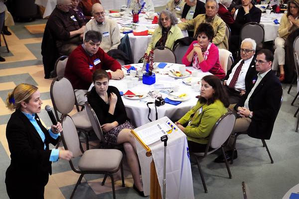 Newburyport: Candidate for the senate, Marisa DeFranco, speaks to the attendees of the 7th Annual Democratic Three Town and Two Cities Breakfast. Bryan Eaton/Staff Photo