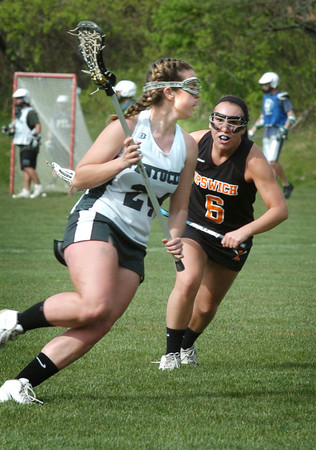West Newbury: Pentucket's Shannon Beaton, left, in action against Ipswich. Bryan Eaton/Staff Photo