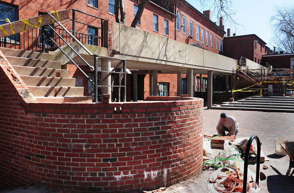 Newburyport: The second story of the stairway turrets on the Inn Street Mall have been removed for a more open view. Bryan Eaton/Staff Photo