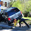 Salisbury: Two people were injured in this crash on Route One at Pleasant Street in Salisbury just south of Pat's Diner yesterday morning. Traffic had to be diverted for an hour as the injured were attended to and the position of the vehicle made it a little tricky for the tow trucks to remove it. Bryan Eaton/Staff Photo
