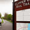 Newburyport: Frequent users of the Clipper City Rail Trail, Carlene and Jim Mercer of Newburyport, head toward Cashman Park. The Newburyport Planning Office is appying for funds from the Community Preservation Act to do more work on the trails. Bryan Eaton/Staff Photo